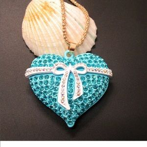 Jewelry - Crystal Blue Heart With Bow Necklace